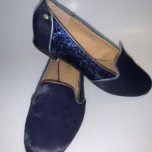 IMAN Blue Calf Hair Glitter Leather Loafers